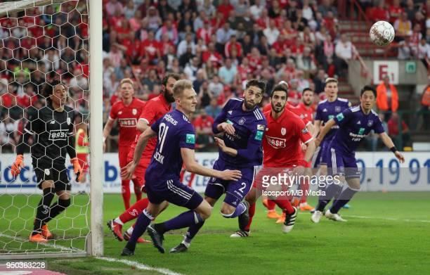 20180418 Liege Belgium / Standard de Liege v Rsc Anderlecht / 'nLukasz TEODORCZYK Josue SA'nFootball Jupiler Pro League 2017 2018 PlayOff 1 Matchday...