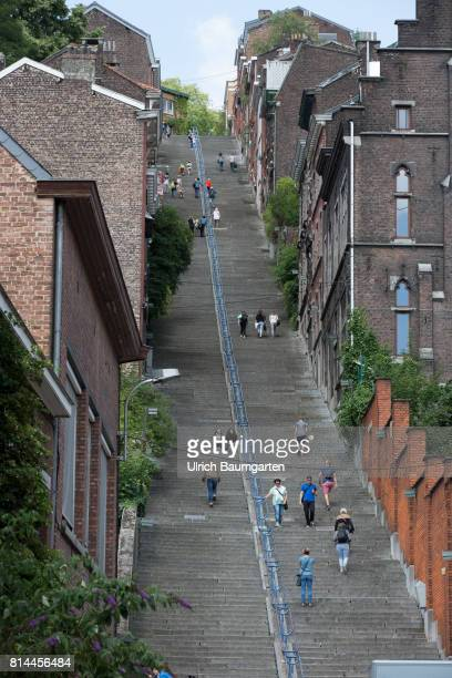 Liege is Belgium's second largest city in the Walloon Region Street scene in the city center The photo shows the stairway Montagne de Bueren