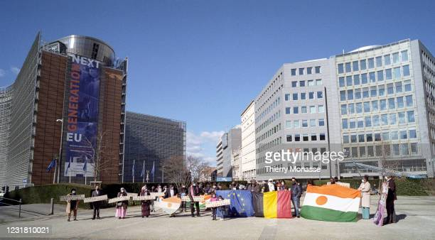 Liege Socialist member and actor Ilou Barma Waziri along with other protestors demonstrate in Schuman Roundabout, in the heart of the European...
