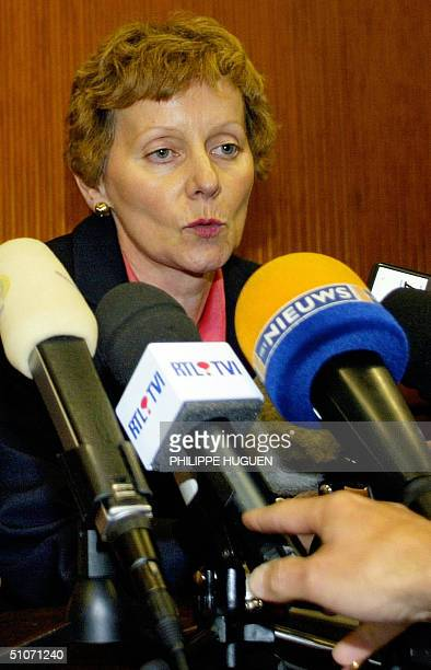 Liege's King prosecutor Josseline Bodson gives a press conference on French serial killer Michel Fourniret 15 July 2004 in Dinant AFP PHOTO PHILIPPE...