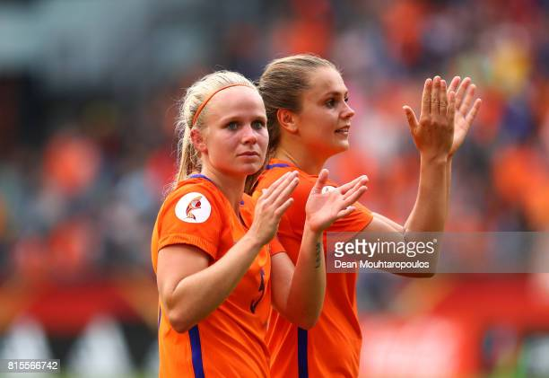 Lieke Martens and Kika van Es of the Netherlands celebrate after victory in the Group A match between Netherlands and Norway during the UEFA Women's...