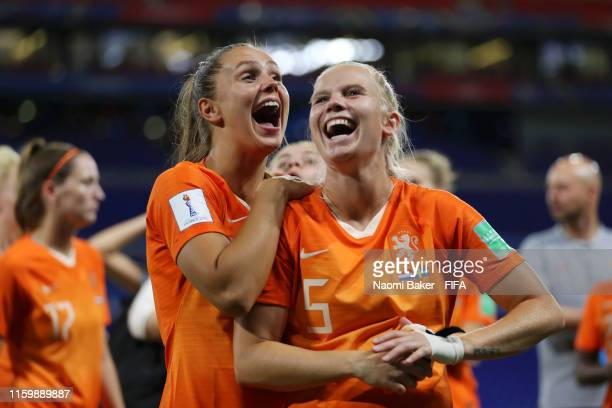 Lieke Martens and Kika Van Es of the Netherlands celebrate following their sides victory in the 2019 FIFA Women's World Cup France Semi Final match...