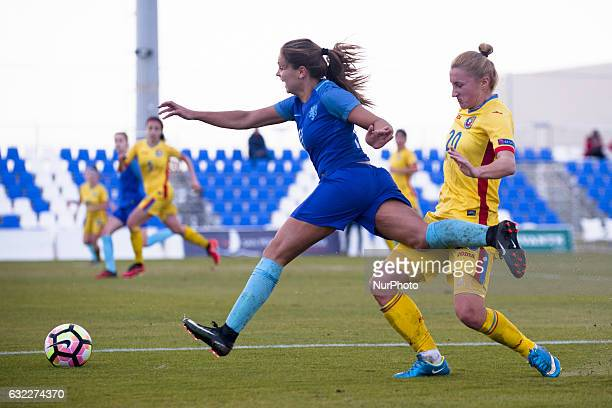 Lieke Martens Cristina Carp during the preseason friendly match between national women's The Netherlands vs Romania in Pinatar Arena San Pedro del...