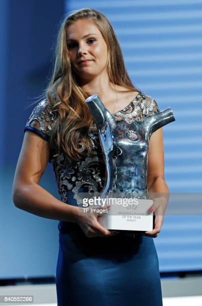 Lieke Martens of Barcelona poses with her trophy of Best Women's player in Europe during the UEFA Champions League Group stage draw ceremony at the...