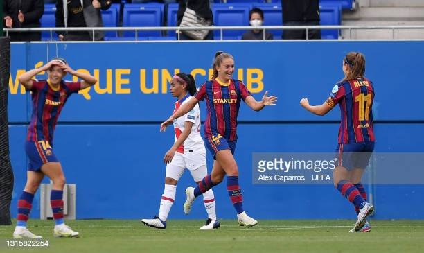 Lieke Martens of FC Barcelona celebrates after scoring their team's second goal with Alexia Putellas during the UEFA Women's Champions League Semi...