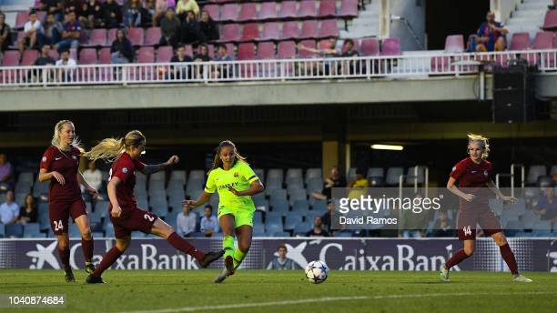Lieke Martens of FC Barcelona scores her team's third goal during the UEFA Women's Chamoions League round of 32 2nd leg between FC Barcelona Women...
