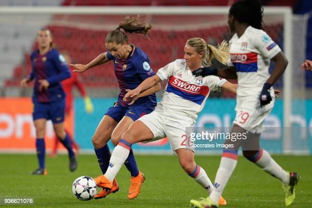 Lieke Martens of FC Barcelona Women Amandine Henry of Olympique Lyon Women during the match between Olympique Lyon Women v FC Barcelona Women at the...