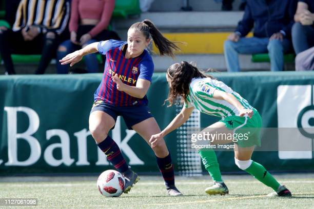Lieke Martens of FC Barcelona Women, Nana of Real Betis Sevilla during the Iberdrola Women's First Division match between Real Betis Sevilla v FC...