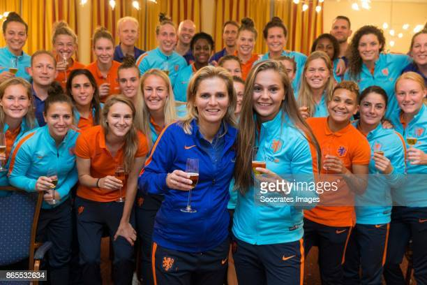 Lieke Martens of Holland crowned as FIFA world player of the year and coach Sarina Wiegman of Holland crowned as FIFA coach of the year posing with...