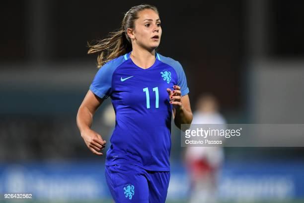 Lieke Martens of Holland in action during the Women's Algarve Cup Tournament match between Denmark and Holland at Complexo Desportivo de Vila Real de...