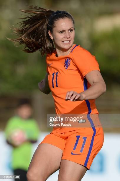 Lieke Martens of Holland reacts after scores a goal during the Women's Algarve Cup Tournament match between Japan and Holland at Municipal Bellavista...