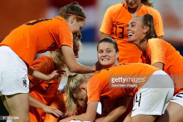 Lieke Martens of Holland Women celebrates 10 with Ellen Jansen of Holland Women Stefanie van der Gragt of Holland Women Sherida Spitse of Holland...