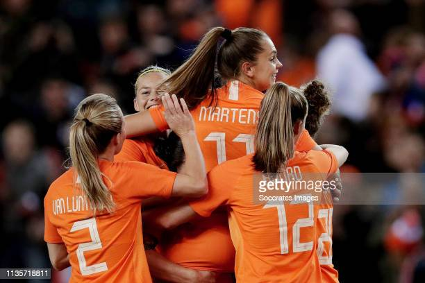 Lieke Martens of Holland Women Celebrates 20 with Sherida Spitse of Holland Women Anouk Dekker of Holland Women Desiree van Lunteren of Holland Women...