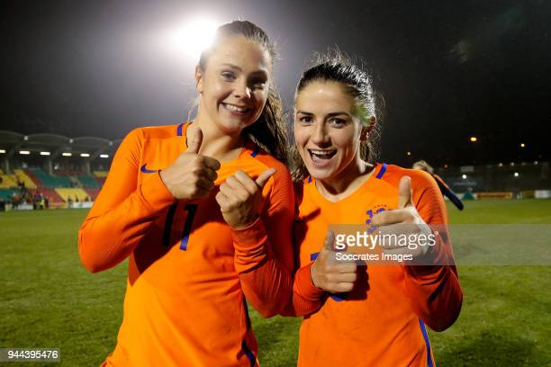 Lieke Martens of Holland Women Danielle van de Donk of Holland Women celebrates the victory during the World Cup Qualifier Women match between...