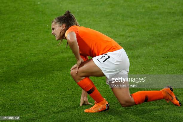 Lieke Martens of Holland Women during the World Cup Qualifier Women match between Holland v Slovakia at the Abe Lenstra Stadium on June 12 2018 in...