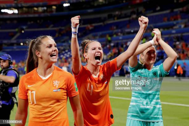 Lieke Martens of Holland Women Merel van Dongen of Holland Women Loes Geurts of Holland Women Celebrates the victory during the World Cup Women match...