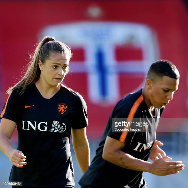 Lieke Martens of Holland Women Shanice van de Sanden of Holland Women during the Training Holland Women in Oslo at the Intility Arena on September 3...