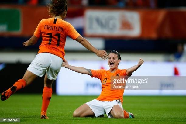 Lieke Martens of Holland Women Sherida Spitse of Holland Women celebrates the victory during the World Cup Qualifier Women match between Holland v...