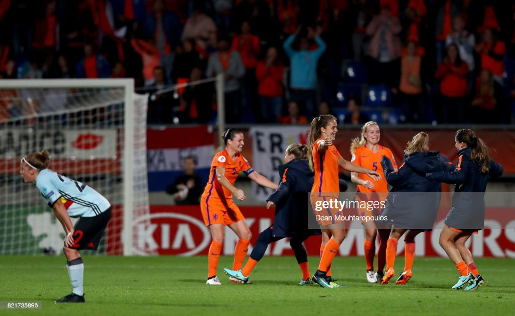 Lieke Martens #11 of Netherlands celebrate with her team mates victory over Belgium after the Group A match between Belgium and Netherlands during the UEFA Women's Euro 2017 at Koning Willem II Stadium on July 24, 2017 in Tilburg, Netherlands.