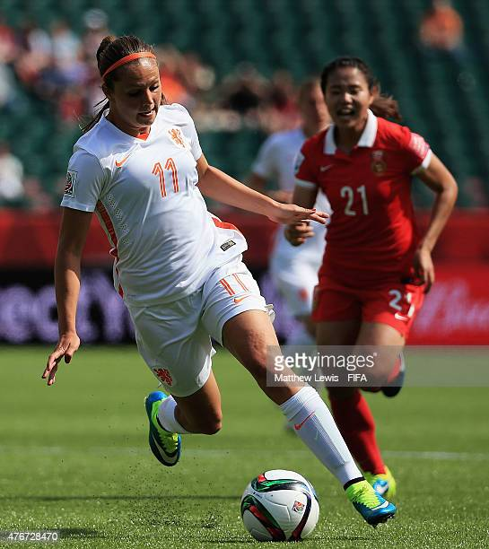 Lieke Martens of Netherlands in action during the FIFA Women's World Cup 2015 Group A match between China PR and Netherlands at Commonwealth Stadium...