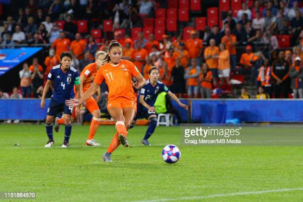 Lieke Martens of Netherlands scores her side's second goal from the penalty spot during the 2019 FIFA Women's World Cup France Round Of 16 match...