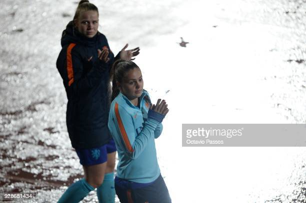 Lieke Martens of Netherlands thank the support of the fans during the Women's Algarve Cup Tournament Final match between Sweden and Netherlands at...