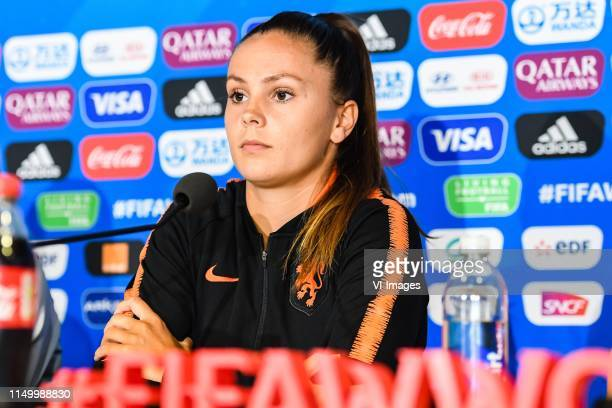 Lieke Martens of Netherlands women at the press conference in Stade Hainaut Valenciennes during a training session prior to the FIFA Women's World...