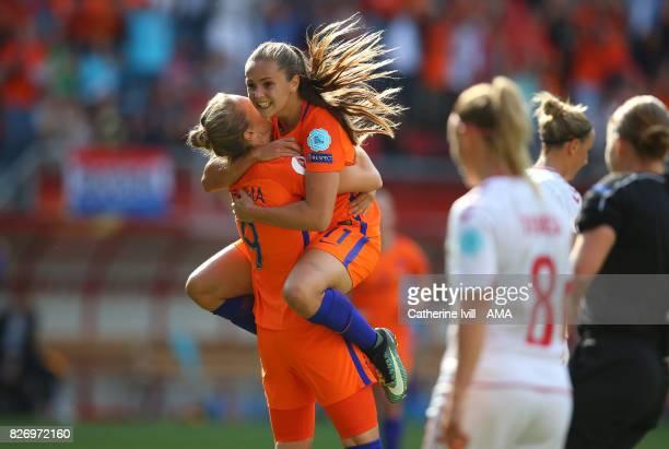 Lieke Martens of Netherlands Women celebrates after scoring ti make it 21 with Vivianne Miedema of Netherlands Women during the UEFA Women's Euro...