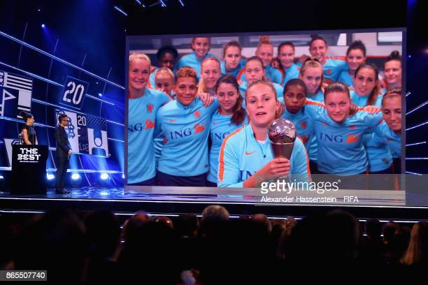 Lieke Martens of The Netherlands and FC Barcelona accepts the The Best FIFA Women's Player during The Best FIFA Football Awards at The London...