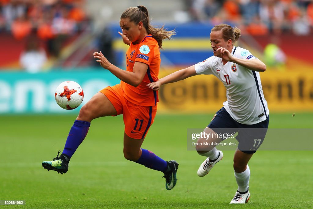 Lieke Martens of the Netherlands and Kristine Minde of Norway battle for the ball during their Group A match between Netherlands and Norway during the UEFA Women's Euro 2017 at Stadion Galgenwaard on July 16, 2017 in Utrecht, Netherlands.
