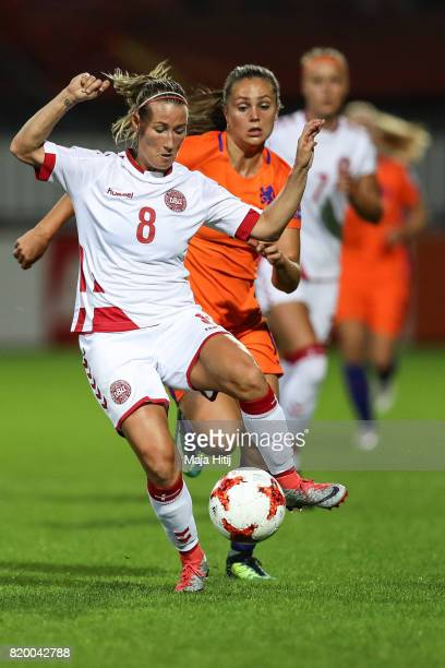 Lieke Martens of the Netherlands and Theresa Nielsen of Denmark battle for the ball during the UEFA Women's Euro 2017 Group A match between...