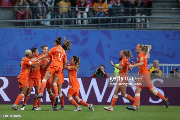 Lieke Martens of the Netherlands celebrates after scoring a goal to make it 10 during the 2019 FIFA Women's World Cup France Round Of 16 match...
