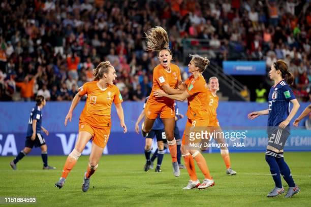 Lieke Martens of the Netherlands celebrates after scoring a goal to make it 21 during the 2019 FIFA Women's World Cup France Round Of 16 match...