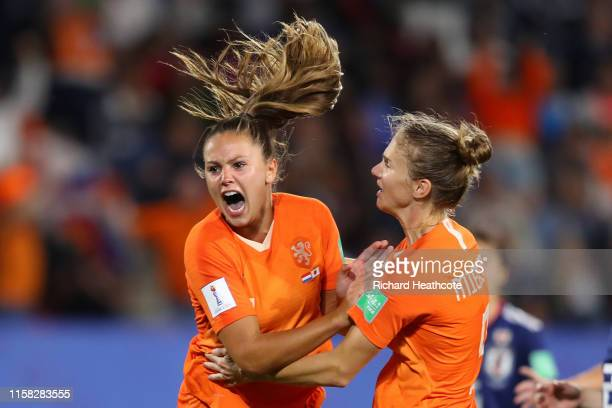 Lieke Martens of the Netherlands celebrates after scoring a penalty for her team's second goal during the 2019 FIFA Women's World Cup France Round Of...