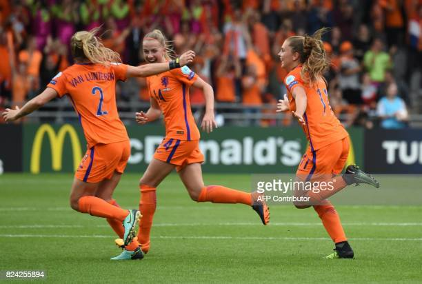 Lieke Martens of The Netherlands celebrates after scoring during the UEFA Womens Euro 2017 football match between the Netherlands and Sweden at the...