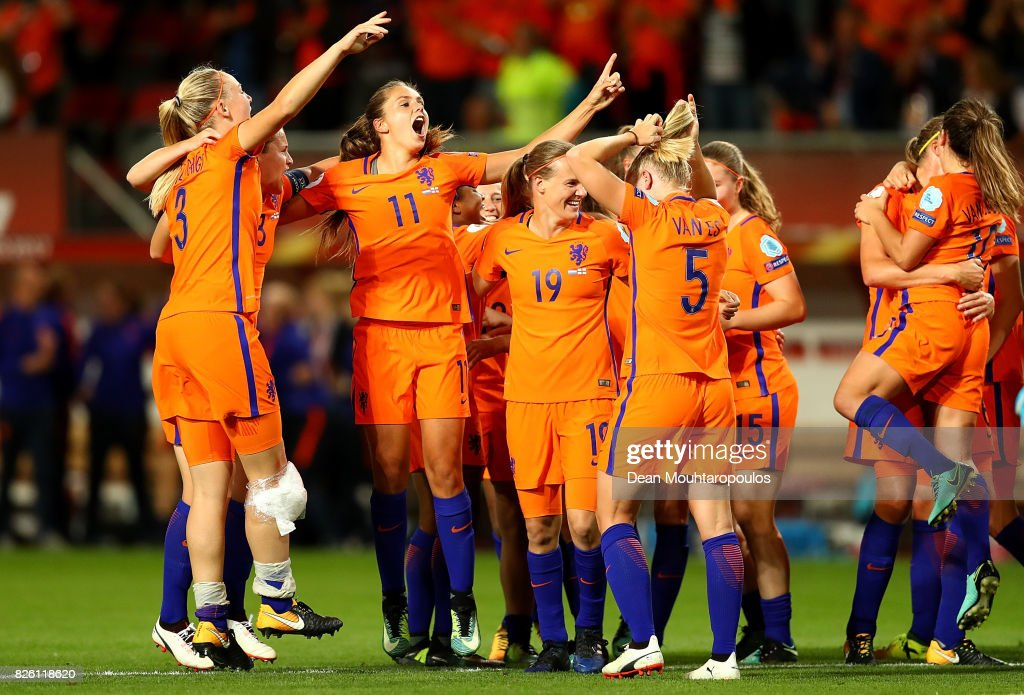 Lieke Martens of The Netherlands celebrates with team mates following the UEFA Women's Euro 2017 Semi Final match between Netherlands and England at De Grolsch Veste Stadium on August 3, 2017 in Enschede, Netherlands.