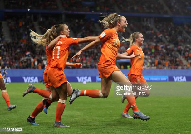 Lieke Martens of the Netherlands celebrates with teammate Jill Roord after scoring her team's second goal during the 2019 FIFA Women's World Cup...