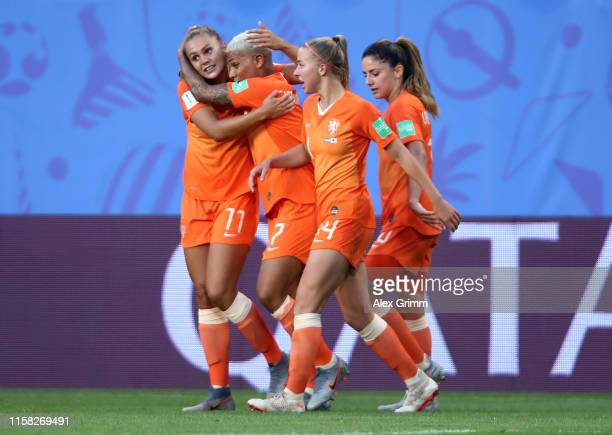 Lieke Martens of the Netherlands celebrates with teammates after scoring her team's first goal during the 2019 FIFA Women's World Cup France Round Of...