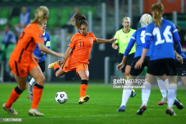 Lieke Martens of the Netherlands in action during the UEFA Women's EURO 2022 qualifier match between Netherlands Women's and Estonia Womens's at...