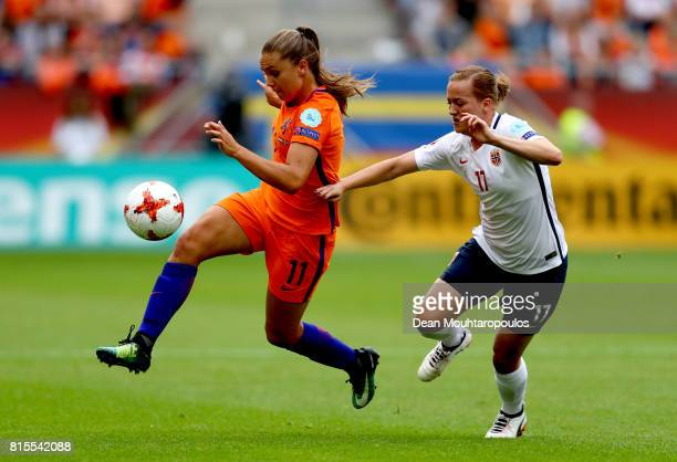 Lieke Martens of the Netherlands is tackled by Kristine Minde of Norway during the Group A match between Netherlands and Norway during the UEFA...
