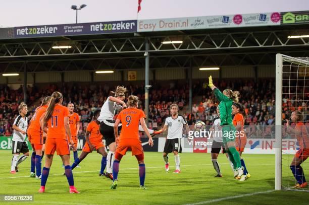 Lieke Martens of The Netherlands Katharina Schiechtl of Austria Vivianne Miedema of the Netherlands Nina Burger of Austria goalkeeper Loes Geurts of...