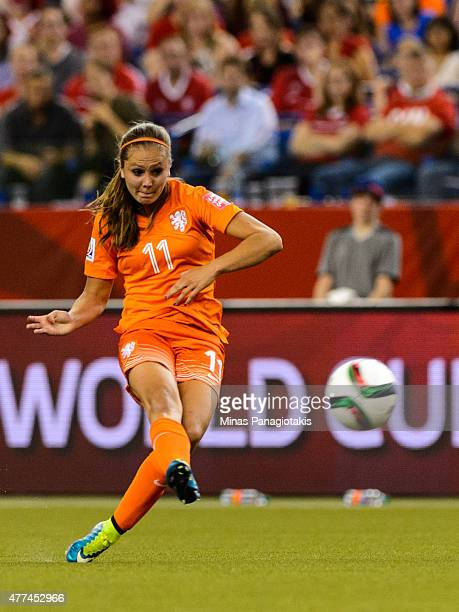 Lieke Martens of the Netherlands kicks the ball during the 2015 FIFA Women's World Cup Group A match against Canada at Olympic Stadium on June 15...
