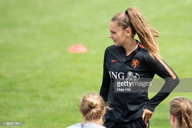 Lieke Martens of the Netherlands looks on during a training session on July 06 2019 in Lyon France