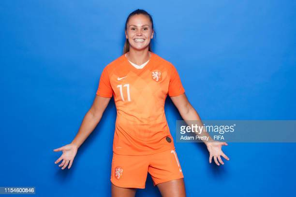 Lieke Martens of the Netherlands poses for a portrait during the official FIFA Women's World Cup 2019 portrait session at Hotel Novotel Le Havre...