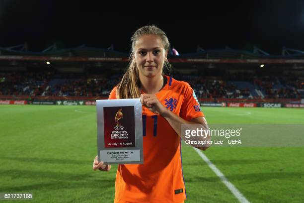 Lieke Martens of the Netherlands poses for the camera with her Player of the Match award during the UEFA Women's Euro 2017 Group A match between...