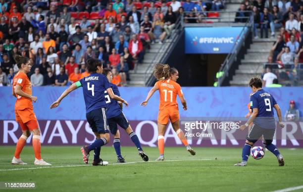 Lieke Martens of the Netherlands scores her team's first goal during the 2019 FIFA Women's World Cup France Round Of 16 match between Netherlands and...