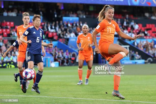 Lieke Martens of the Netherlands scores the opening goal with a cheeky back heel during the 2019 FIFA Women's World Cup France Round Of 16 match...