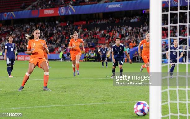 Lieke Martens of the Netherlands scores the winning goal from the penalty spot during the 2019 FIFA Women's World Cup France Round Of 16 match...