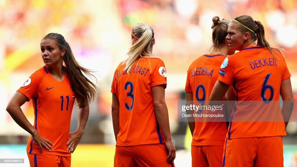 Lieke Martens, Stefanie van der Gragt, Vivianne Miedema and Anouk Dekker of the Netherlands make a defensive wall during the Final of the UEFA Women's Euro 2017 between Netherlands and Denmark at FC Twente Stadium on August 6, 2017 in Enschede, Netherlands.