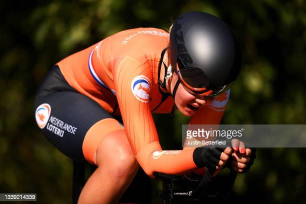 Lieke Nooijen of The Netherlands sprints during the 27th UEC Road Cycling European Championships 2021 - U23 Women's Individual Time Trial a 22,4km...